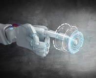 Metalliskt pekfinger för robothandpunkt Arkivbilder