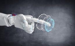 Metalliskt pekfinger för robothandpunkt Fotografering för Bildbyråer
