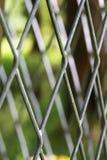 Metalliskt sömlöst staket och den gröna naturen på bakgrunden Arkivbilder