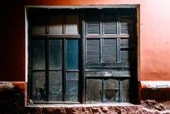Metalliskt stängt växtfönster fotografering för bildbyråer