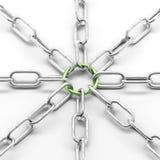 Metallkette mit grünem Ring Stockfotos