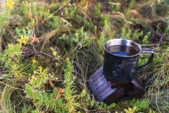 Metallkopp med te som utomhus värme på spisen torr gasbrännare för alkoholfyrpannaalkohol arkivbild