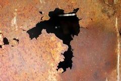 Metallkorrosion rostig yttersida för metall Arkivfoto