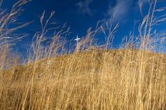 Metallkreuz auf grasartigem Berg lizenzfreies stockbild