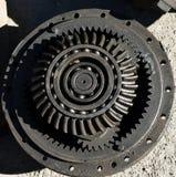 Metallkuggekugghjul som tillsammans sammanfogar från traktoren arkivfoton