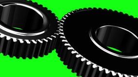 Metallkugghjulöglan roterar på grön chromakeybakgrund vektor illustrationer