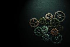 Metallkugghjul på svart Royaltyfria Bilder