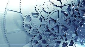 Metallkugghjul som roterar i kretsad animering HD 1080 stock illustrationer