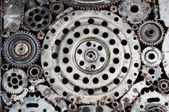 Metallkugghjul texturerade bakgrund Fotografering för Bildbyråer