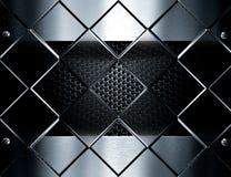 Metallmallbakgrund mot glass kuber Royaltyfri Bild