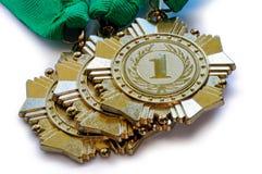 Metallmedaillen der Goldfarbe für Sieger Lizenzfreie Stockbilder