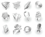 Metallmetallisches Web und Anwendungsikonenset Stockfotografie