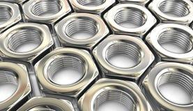 Metallmutterenhintergrund Stockbild