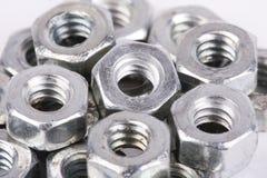 Metallmuttern schließen oben lizenzfreies stockfoto