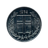 Metallmynt tio eire Island Mynt som isoleras på vit bakgrund Nolla royaltyfri foto