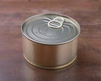 Metallo dell'oro di Tincan per alimento inscatolato Imballaggio reale del prodotto Immagine Stock