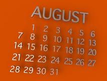 Metallo di August Calender 3D su fondo arancio Fotografia Stock Libera da Diritti