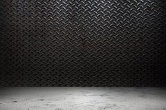 Metallo di industria con il magazzino concreto del pavimento immagine stock