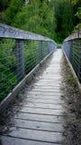 Metallo e ponte di legno che entrano in legno fotografie stock libere da diritti