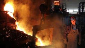 Metallo liquido nella fonderia fotografia stock libera da diritti