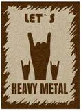 Metallo pesante lasciato di s, gesto di mano, corno, vettore di festival rock con rumore e struttura, fondo strutturato di marmo royalty illustrazione gratis