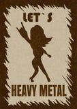 Metallo pesante lasciato, illustrazione che mostrano la siluetta del fan, vettore con rumore e struttura di s, di marmo struttura royalty illustrazione gratis