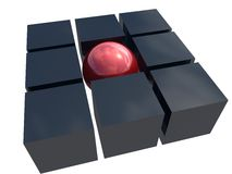 Metallo rosso una sfera unica Immagini Stock