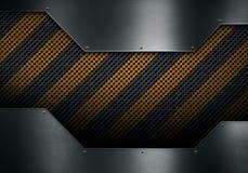 Metallplatta med det perforerade metallarket med varningsband Arkivbild