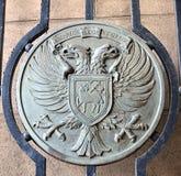 Metallplatte auf einem Tor, das Wappen der Stadt von Perth anzeigt, Stockfotografie