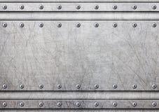 Metallplatte mit Nieten über rustikalem Stahlhintergrund, 3d, illust stock abbildung