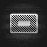 Metallplatten auf schwarzem Hintergrund Stockfotos
