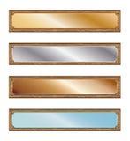 Metallplatten mit hölzernen Rahmen lizenzfreie abbildung