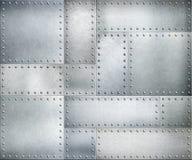Metallplattor med nitar bakgrund eller textur stock illustrationer