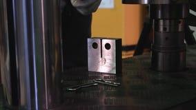 Metallprövkopian testas för compressive styrka footage Närbild av metallstyrkaprovet i laboratorium genom att använda press royaltyfri foto