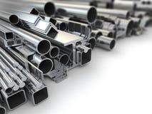 Metallprofil och stålrör. Bakgrund. 3d Arkivbild