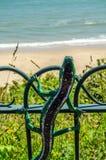 Metallprydnad på en balustrad i en sjösidaby, symbolisk li Arkivfoto
