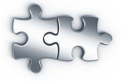Metallpuzzlespielstücke Stockfotografie