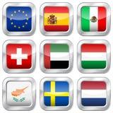 Metallquadratische Staatsflaggen Lizenzfreies Stockfoto