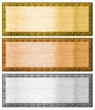Metallramar försilvrar, guld och brons med den snabba banan arkivbild