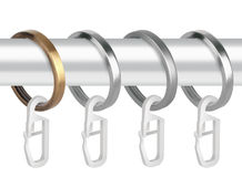 Metallringe mit Clipn für Vorhanggesimse Lizenzfreies Stockfoto