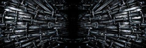 Metallritter-Klingenhintergrund Panoramische Netzfahne mit Kopienraum Die Konzept Ritter stockfotos