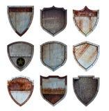 Metallschild schützte Stahlikonenzeichensatz lizenzfreies stockfoto
