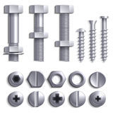 Metallschrauben, Stahlbolzen, Nüsse, Nägel und Niete lokalisiert auf weißem Vektorsatz lizenzfreie abbildung