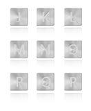 Metallschrifttyp Taste J - R Lizenzfreie Stockfotos