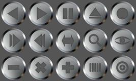 metallset för 2 knappar Arkivbild