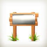 metallsignboardträ stock illustrationer