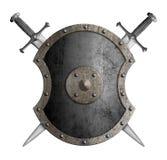 Metallsköld med den korsade svärd isolerade illustrationen 3d vektor illustrationer