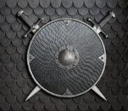 Metallsköld med korsade svärd över illustration för pansarbakgrund 3d vektor illustrationer