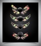 Metallsköldemblem med glass vingar. Royaltyfria Bilder