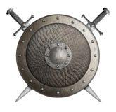 Metallskölden som täcktes av våg med korsade svärd, isolerade illustrationen 3d royaltyfri illustrationer